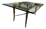 Rectangular Glass Top Cocktail Table With Gilt Faux Bamboo Base