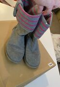 Ladies Womenandrsquos Gray And Pink Cotton Fabric Striped Ugg Shoes Size 8 Boots