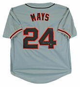 Willie Mays Authentic Signed Grey Pro Style Jersey Autographed Sey Hey Holo Auto