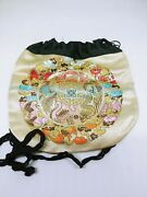 Chinese Brocade Silk Embroidery Perfume Scent Pouch Purse Dragon And Bat 1900s