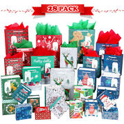 28x Christmas Gift Bags Set Xmas Wrapping Bags W/ 28 Tissue Paper + 28 Gift Tags