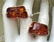 Vintage Russian Russia Ussr New Old Stock 14k 583 Rose Pink Gold Amber Cufflinks