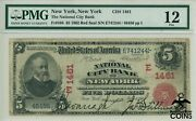 1902 Us 5 Red Seal Note New York Ny National City Bank Ch1461 Pmg 12 Fine