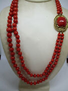 18k Graduated Italian Sardinia Double Strand Deep Red Coral Bead Necklace
