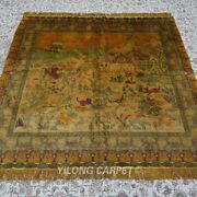 Yilong 5and039x5and039 Square Hunting Animal Tapestry Area Rug Handmade Silk Carpet 162ab