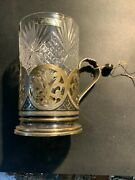 Unique Vintage New Russian Sterling Silver Niello Gold Washed Tea Glass Holder
