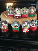 Lot Of 8 2005-2011 And 2013 Jcpenney Disney Christmas Snow Globes Mickey Mouse