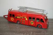 Antique France Cij First Responders Fire Ladder Truck Wind Up Tin Litho Toy