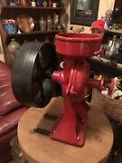 Rare Black/red Cast Iron Mill Grain Grinder. Working Condition Rare