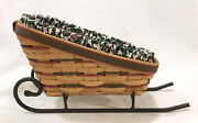 """Longaberger Large Holiday 1997 Basket And Sleigh Fabric And Plastic Liner 17""""x7""""x10"""""""