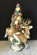 Rare 20andrdquo Fitz And Floyd Classics Deer Reindeer Topiary Figurine Candle Holder
