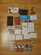 Huge Lot Of New And Used Disney Memorabilia Postcards Button Pins Decal Boxes