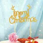 1x Merry Christmas Cake Topper Party Dessert Table Supplies Xmas Decoration S6w5