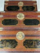 3 Vintage Antique Chinese Export Lacquered Woven Rattan And Brass Stackable Chests