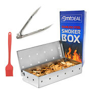 Smoker Box Tongs And Brush For Gas Or Charcoal Grills - Heavy Duty Stainless Steel