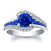 1.60 Carat Real Blue Sapphire Diamond Wedding Sterling Silver Rings Size 5.5 7 8