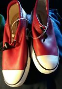 Vintage Converse Red Leather Chucks Toggle Ox Ctas 👟 Us M 7.5 W 9.5 Shoe Read