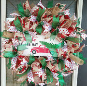 Old Fashioned Country Truck Christmas Deco Mesh Front Door Wreath, Decoration