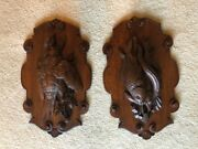 Pair Of Antique Carved Wood Animal Trophies With Oak From Black Forest Germany