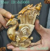 Old Chinese Dynasty Shoushan Stone Hand-carved Lucky Animal Phoenix Bird Statue