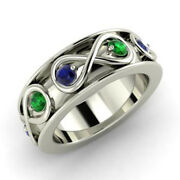 0.80 Carat Real Green Emerald And Sapphire Gemstone 950 Platinum Band Size 5 6 7 8