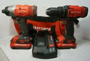Ri4 Craftsman Impact And Driver Drill Set Cmcd700 Cmcf800 2 Batteries And Charger