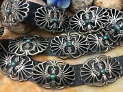 Best 30s-40s Native American Navajo Turquoise Knifewing Sand Cast Sterling Belt