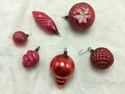 Lot Large Med Small Red Indent Seeds Antique Christmas Ornaments Mercury Glass