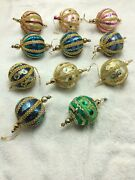 Lot Of 11 Vintage Beaded Sequin Christmas Ornaments Pin Art Pink Blue Green Gold