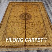 Yilong 6and039x9and039 Handmade Silk Rug Gold Washed Antique Home Decor Carpet G80c