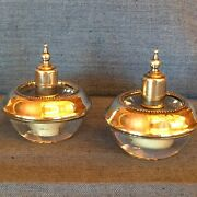 Sterling Silver Crystal Lighters, Frank M Whiting Hy Glo Pair