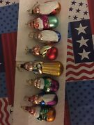 Disney Glass Roley-poley Snow White And The Seven Dwarves Ornaments Iridescent
