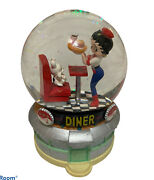 """Betty Boop Musical """"at The Hop"""" Diner Snowglobe Works Collectible Music Glitter"""