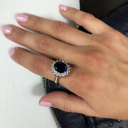 3.48 Carat Real Diamond Oval Blue Sapphire Ring 14k Real White Gold Size M N O P