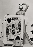 1950s Vintage Surreal Female Nude Gambling Dice Cards Photo Litho Zoltan Glass