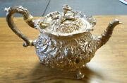 1868-1890 S Kirk And Son Sterling Silver Teapot Floral Repousse Early 11oz Mark