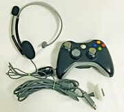 Xbox 360 Wireless Controller, Play And Charge Cable, Headset W/ Mic Lot