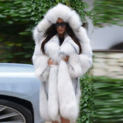 Women Real Blue Fox Fur Coat Hooded Female Thick Natural Fur Winter Outerwear