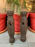 Antique 2 Wooden Hand Carved Bed Leg Feet Brackets Panel Candle Stand Panel