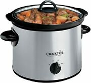 Crock-pot 3-quart Round Manual Slow Cooker Stainless Steel And Black - Scr300-ss