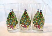 Lot Of 3 Christmas Glasses Tumblers Decorated Trees W/angel Topper And Presents
