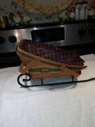 Longaberger Basket And Wrought Iron Sleigh 1991yuletide Traditions Green Combo