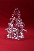 Art Glass Clear Crystal Christmas Tree Figurines Made In France 5.5 High
