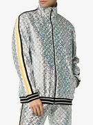 Nwt Laminated Sparkling Gg Striped Jersey Track Jacket Size L 2500.00