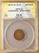 1870 Indian Head Penny Anacs Vg 8 Details