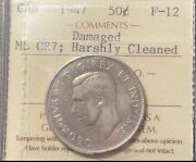 50 Cents 1947 Curved Maple Leaf Iccs F12