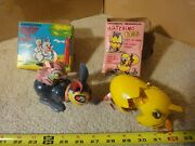 Vintage Wind Up, Tin Toy Jumping Rabbit, Hatching Chicken Egg Toy Lot By Mikuni