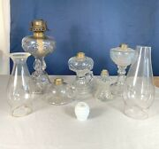 Lot Antique Oil Lamps And Chimneys Different Sizes, Glass Imperfections, Bubbles