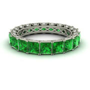 4.40 Carat Real Diamond Green Emerald Band 14k Solid White Gold Size 5.5 6 7 8 9