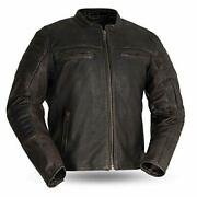 First Mfg Co. - Commuter - Menand039s Motorcycle Leather Jacket Brown 3x-large